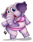 Ilustración de un elefante llevaba un bikini sobre un fondo blanco