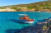 Fishing boat at the coast of Crete, Greece