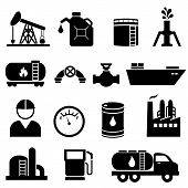 stock photo of oil derrick  - Oil and petroleum icon set in black - JPG