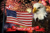 foto of eagle  - Fireworks display during fourth of July with American flag and bald eagle - JPG