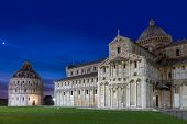 Baptistry and dome of Pisa after sunset, Tuscany, Italy