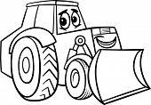 Bulldozer Cartoon For Coloring Book
