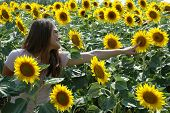 Happy Young Woman In A Sunflower Field