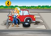 Illustration of a girl repairing the red car at the pedestrian lane