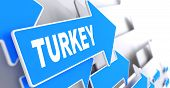 Turkey on Blue Direction Sign.