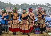 Hmong Women In Traditional Dress On Sunday Market In Bac Ha.