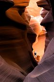 Tourist In Slot Canyon poster