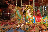 picture of carousel horse  - brightly painted horses on a fairground carousel - JPG