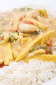 image of snitch  - diced chicken in coconut curry sauce served with rice - JPG