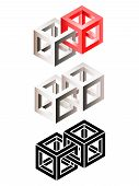 Set Of Three-dimensional Airs Of Intersected Wireframe Cubes. Eps10