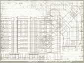 Grunge Horizontal Architectural Background With Elements Of Plan And Facade Drawings. Eps10