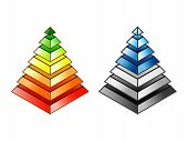 Energy Efficiency And Environmental Impact Rating Pyramids. Eps10