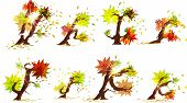 Autumn's alphabet made of yellow bushes