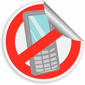 foto of mobile-phone  - Sticker prohibition sign  - JPG