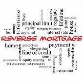 Reverse Mortgage Word Cloud Concept In Red Caps