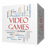 Video Games 3D Cube Word Cloud Concept