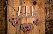 Valentine Background Hand-sewn Heart Wood Wooden