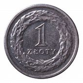 One Zloty Coin Isolated On White