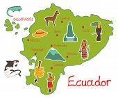 stock photo of guayaquil  - vector illustration of map of ecuador with typical features - JPG