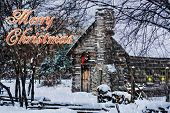 Snowy Winter Log Cabin Christmas Card