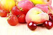 Platt Peach, Cherries, Strawberries, Lemon And Mango