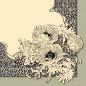 Vector Vintage Floral Invitation Card