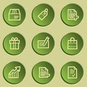 Shopping web icon set 1 , green paper stickers set