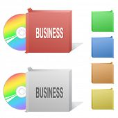 Business. Box with compact disc. Raster illustration.