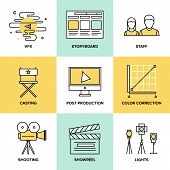 stock photo of production  - Flat line icons set of professional film production movie shooting  actors casting storyboard writing - JPG