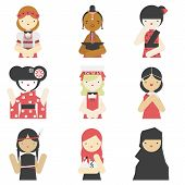 picture of traditional attire  - Flat icons collection of different national girls wearing traditional clothes - JPG