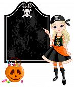 Pointing  girl dressed as pirates for Halloween party. Raster version.