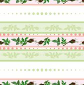 Seamless Pattern Of Roses And Of Stripes