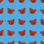 Seamless Pattern Toy Bear Head
