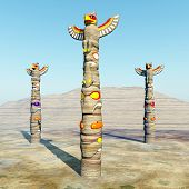 picture of totem pole  - Computer generated 3D illustration with Totem Poles - JPG