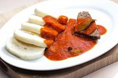 beef meat with tomato sauce