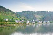 stock photo of moselle  - Image of a typical german village along the banks of the River Moselle - JPG