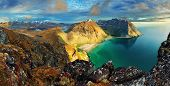 stock photo of arctic landscape  - Beach mountain landscape Norway - Lofoten, panorama