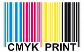 foto of subtraction  - Bar code with text Cmyk Print isolated - JPG