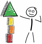 Stick Figures With Building Block Tower And Shadow