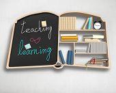 Book Shape Bookshelf And Blackboard
