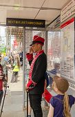 Commissionaire at Lego bus stop