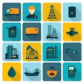 stock photo of fuel tanker  - Oil extraction refining and petroleum production industry with tanker transportation ship symbols icons set flat vector illustration - JPG