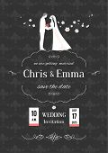 Wedding invitation with bride and groom on dark background