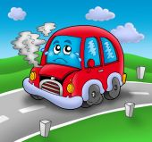 Coche de dibujos animados roto por carretera