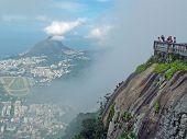 Tourists On Corcovado Mountain