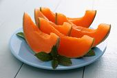 Cantaloupe Melon With Mint As Healthy Refreshment
