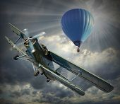 Retro style picture of the biplane and hot air balloon. History of aeronautics concept.