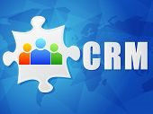 Crm And Puzzle Piece With Person Signs, Flat Design