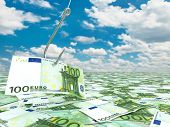Euro and fish-hook on cloudscape. Financial concept.. 3d