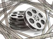Film reels  and movie film strips. 3d